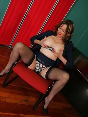 Horny older secretary in stockings - featuring Abigail Fraser